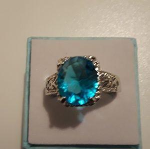 925 Silver blue topaz gemstone ring size 10